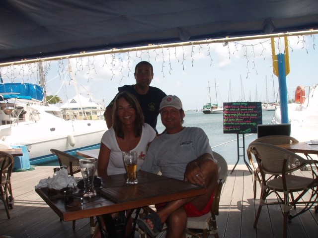 FD and I dine at a favorite French restaurant on the pier at Phillipsburg in the French West Indies. St. Maartin is our favorite vacation spot in the world.