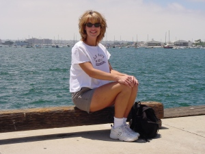 Back in 2001 on the waterfront at San Diego Bay.  Yes, I was a blonde for a while!