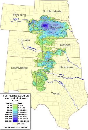 Saturated thickness of the Ogallala Aquifer in 1997 after several decades of intensive withdrawals: The breadth and depth of the aquifer generally decrease from north to south. Image courtesy of Wikipedia.