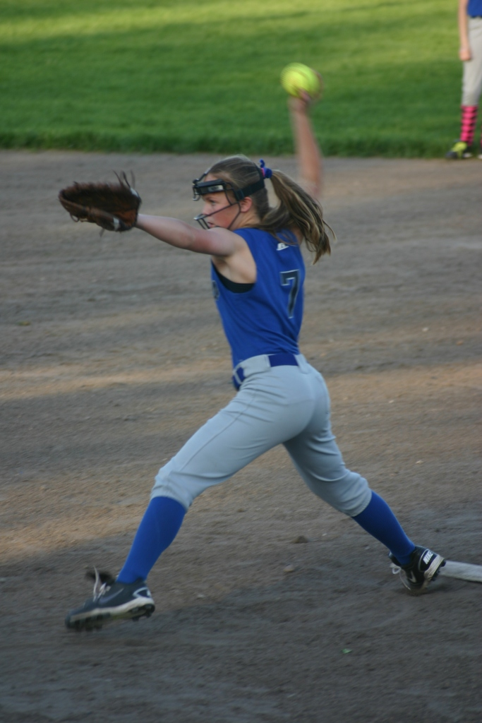 This was one of my best shots of Em pitching! Great form Em!