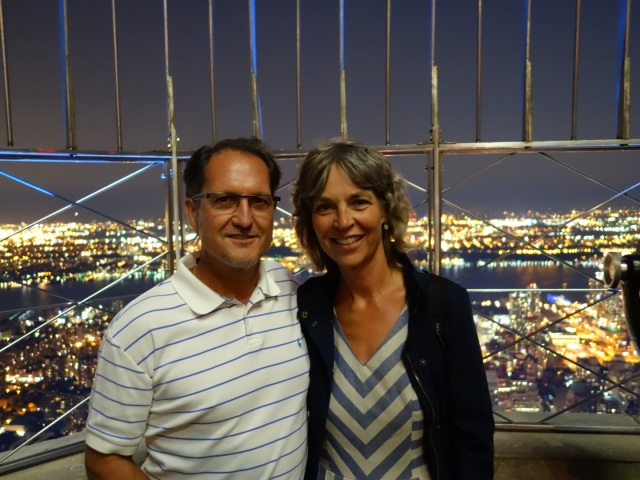 "My sister Jules took all of the photos of FD and me in this post with her iPhone camera. This spectacular photo shows the vastness of city lights from atop the Empire State Building. I highly recommend taking the nighttime tour. The view is simply breathtaking! And for those of you who adore the movie, ""Sleepless in Seattle"" like FD and I do, it's a lovely spot to find romance too!"