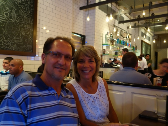 Taking in fabulous NYC food at 5 Napkins restaurant in the Hell's Kitchen district. It was a noisy spot and very popular. This place is well-known for their great burgers!
