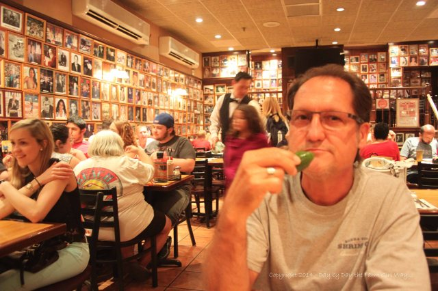 FD and I had our first evening dinner in NYC at Carnegie Deli. We shared a corned beef sandwich which was HUGE! Photographs of famous people line every wall in the establishment. Wait staff was outstanding!