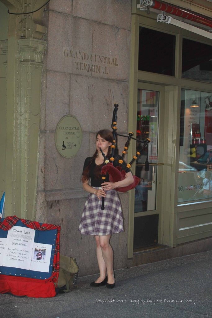 As we exited Grand Central Terminal we heard the most beautiful bagpipe music just around the corner. Street performers can be found in just about every area of NYC, mostly around well-known sightseeing areas where tourists tend to congregate.