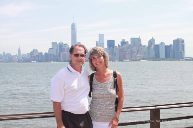 FD and I on the ferry to the Statue of Liberty.