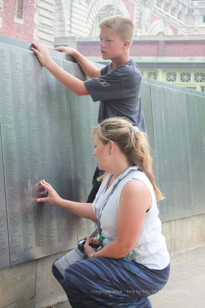 """Here is the wall that we all spent about an hour looking for Granpa's name before realizing it was the """"donor"""" name listing! Did we ever feel silly!"""