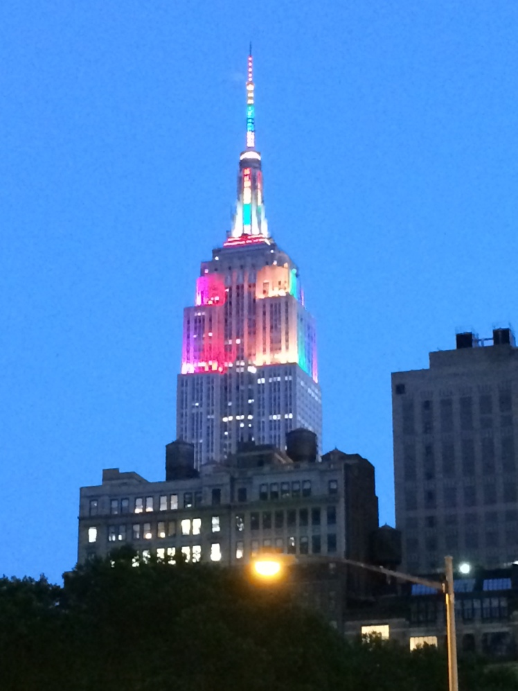 The Empire State Building lit up in beautiful rainbow colors in celebration of NYC Pride Week and in commemoration of the 45th Anniversary of the Stonewall Inn Riots, which are credited with launching the modern gay rights movement in 1969.