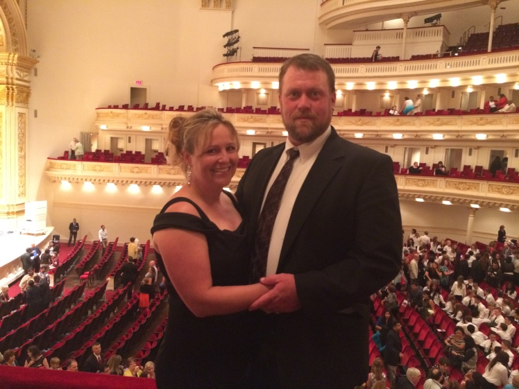 I took this photo of Chris and Jules just after the performance. The background shows the elegance of the auditorium. The acoustics were outstanding as well.