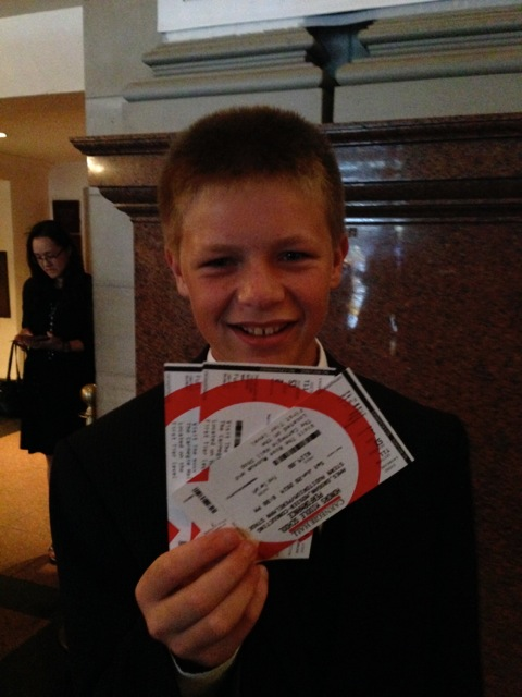 Sid holds the three re-printed tickets, which Carnegie Hall staff were very kind about replacing. The original tickets were still back in Nebraska on the bedroom dresser!