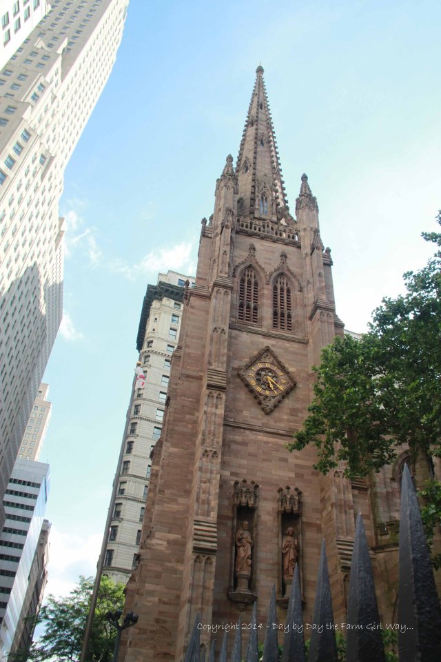 There were many beautiful churches and cathedrals in Lower Manhattan. Trinity Church is known for its historic cemetery and beautiful landscaping.