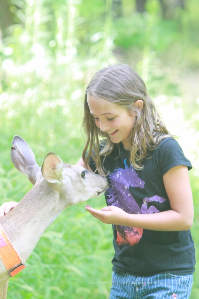 Daisy licked and nibbled the unicorn so much that it was beginning to tickle Riley Jo!