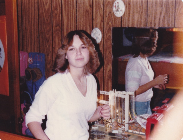 This is me getting ready for school my senior year, 1979. The Farrah Fawcett look was all the rage back then!