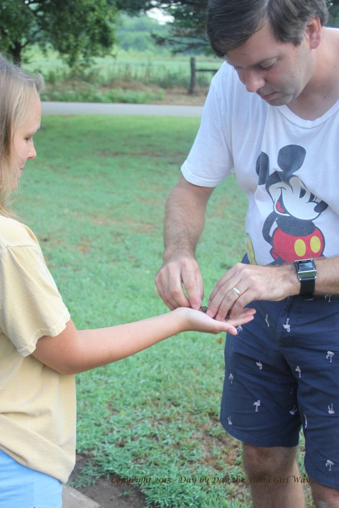 Dr. Chris Butler gently places a hummingbird in Haley's hand to let it fly free.