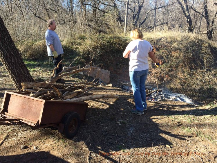 While Doug and I kept two trailers of wood coming non-stop, Lisa worked at burning each load. And while low humidity and a slight breeze made burning a bit unfavorable, I found Lisa was really quite talented at keeping the fire low and burning off each trailer load efficiently without risk of flying embers or catching nearby grasses on fire. Of course we had a water hose at the ready just in case!
